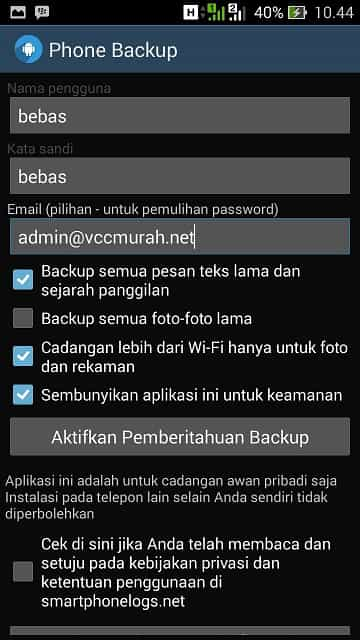 isi username, password dan email