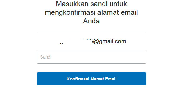 masukan sandi untuk mengkonfirmasi alamat email