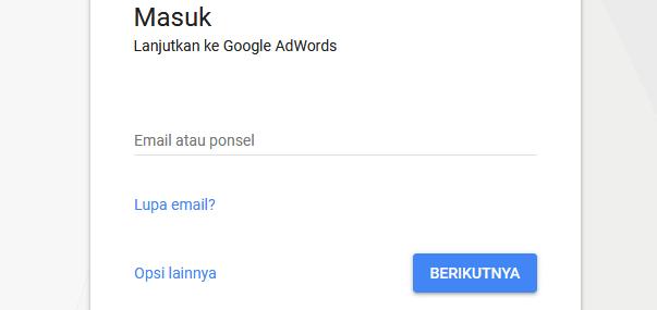 masuk ke adwords