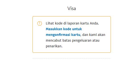 klik masukkan kode untuk mengonfirmasi kartu