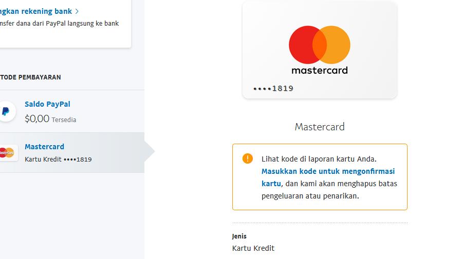 masukan kode untuk mengonfirmasi kartu